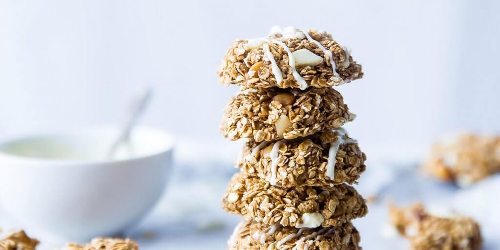Granola energy bites stacked on top of each other