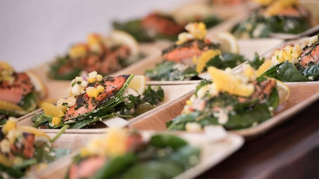 Serving plates of salad
