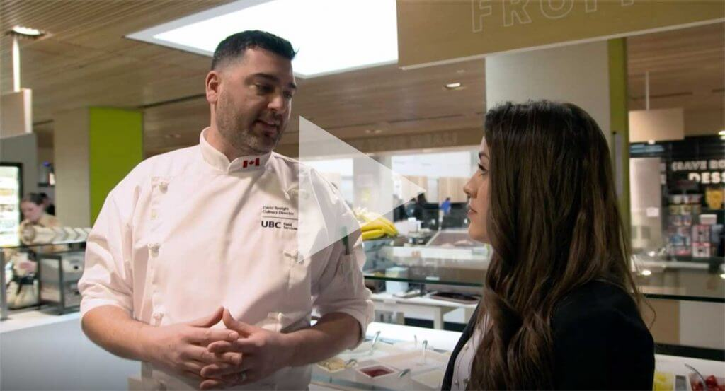 Video still of UBC Dietitian Melissa Baker speaking with UBC Chef David Speight