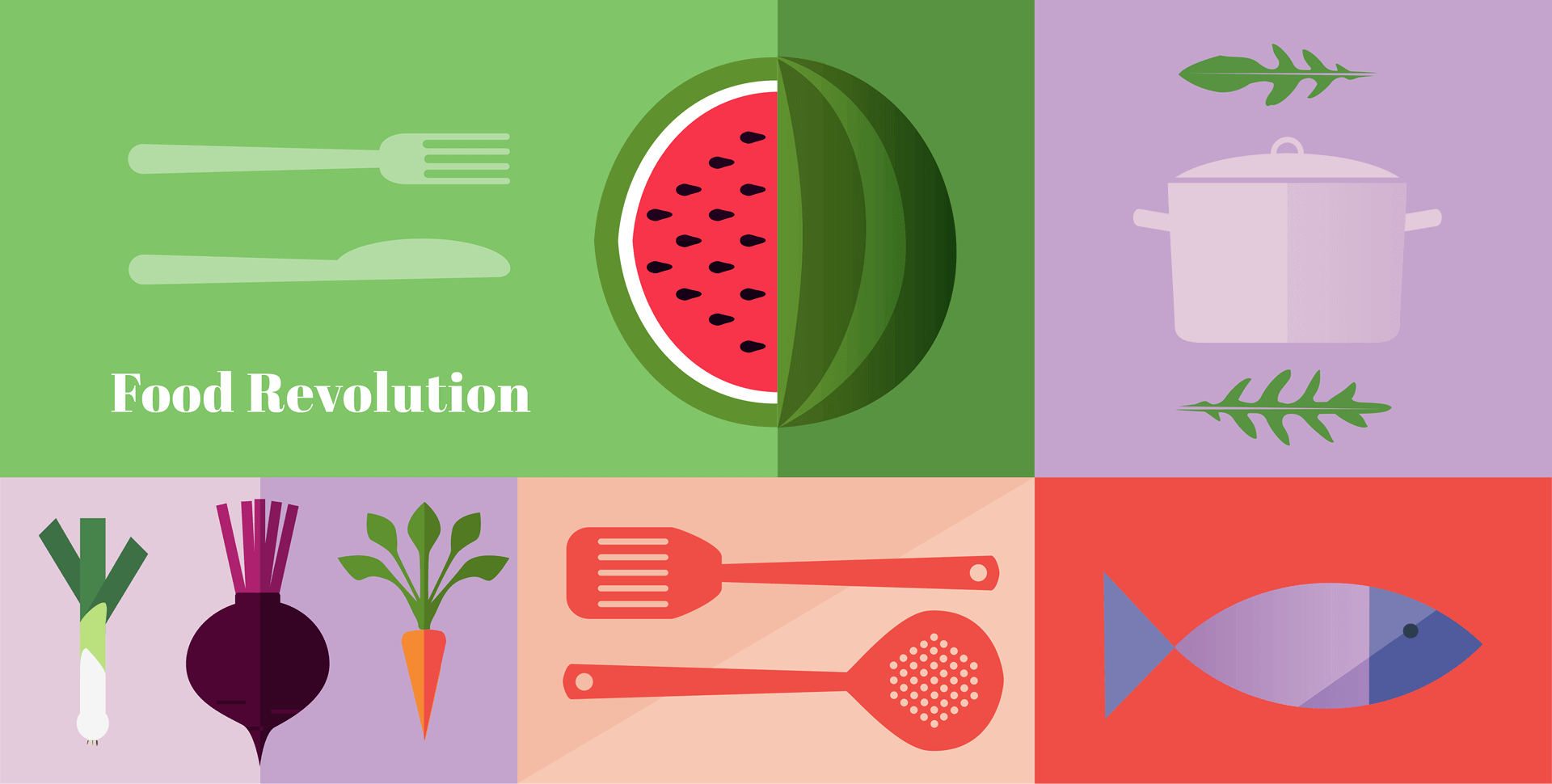 Food revolution graphic panels