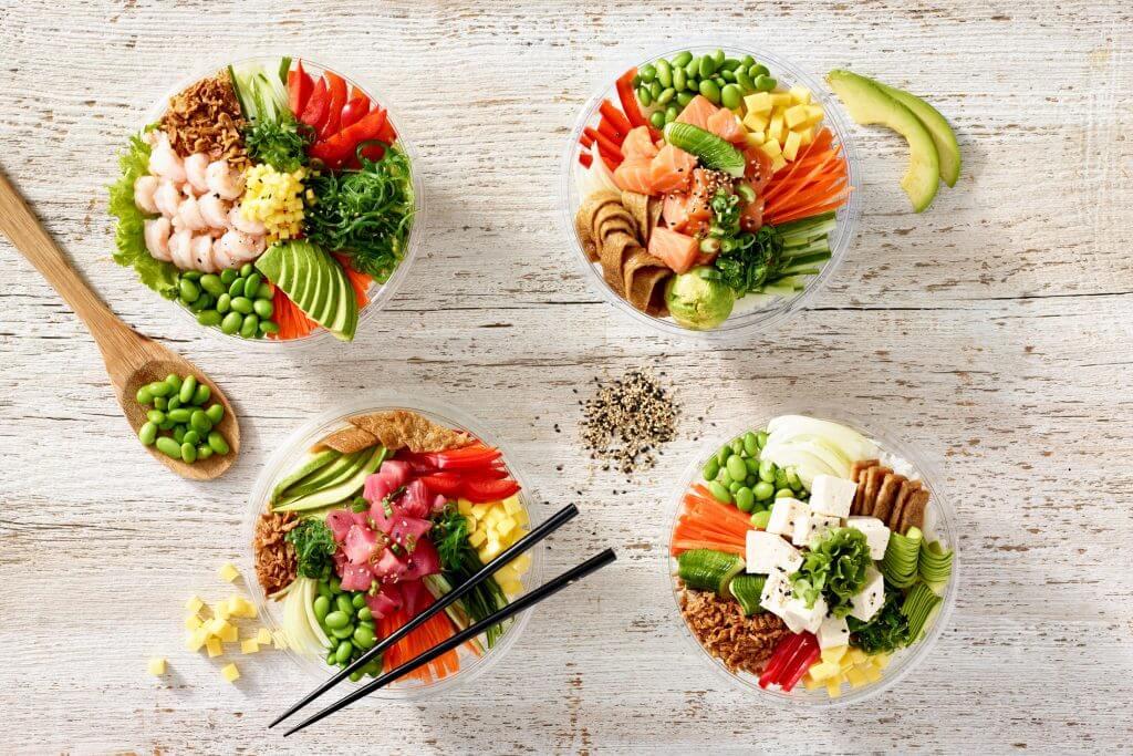 Four Bento bowls