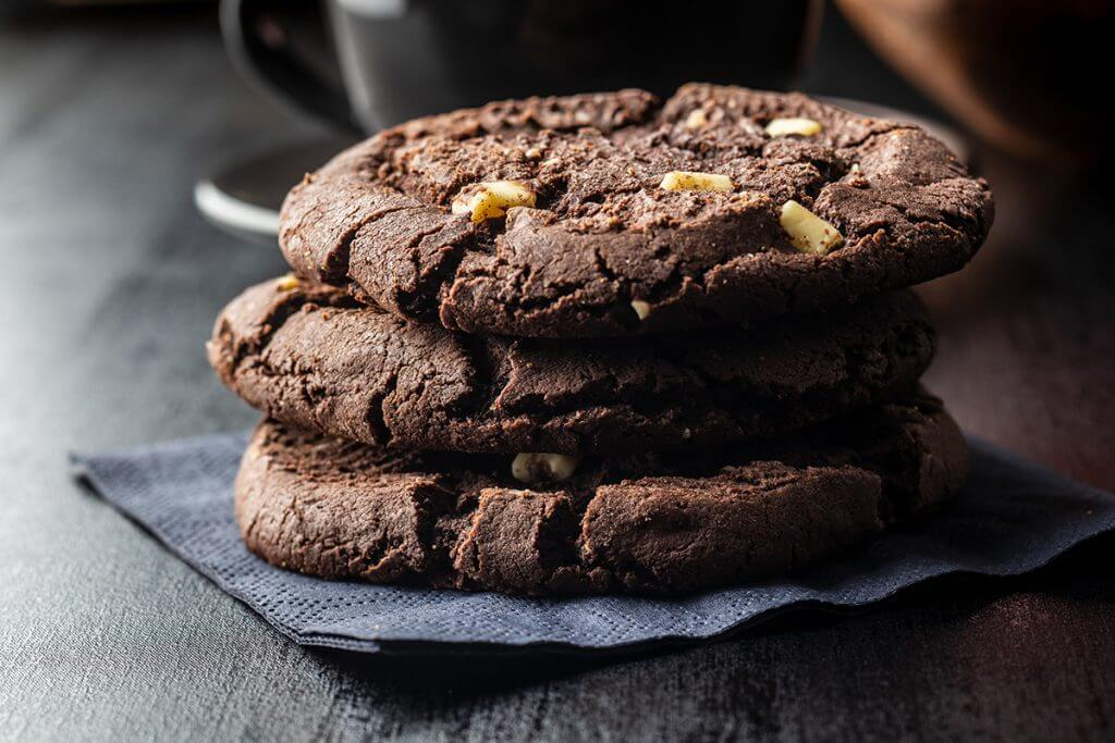 Stack of double chocolate chip cookies