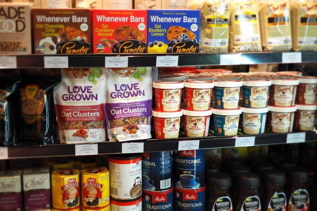Grocery store shelves