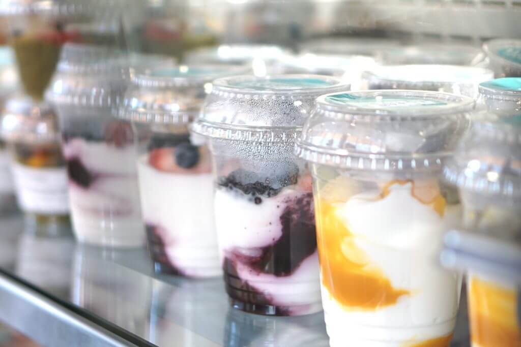 Yogurt cups with fruit