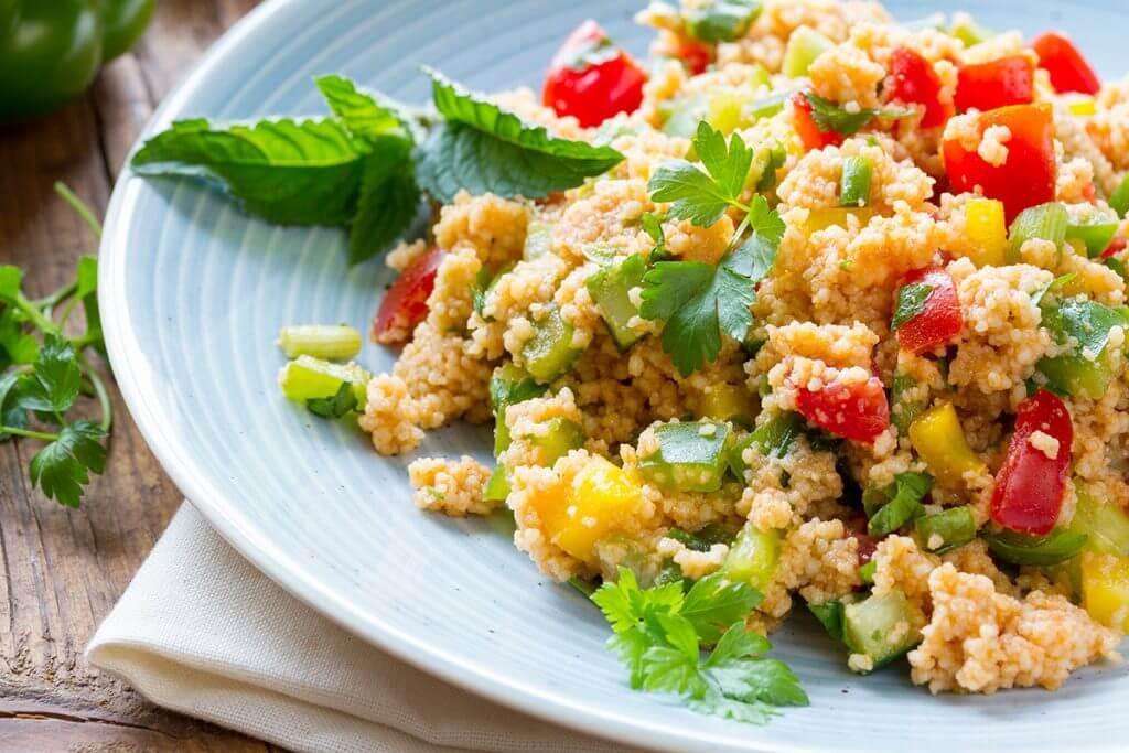Salad dish on a light blue plate