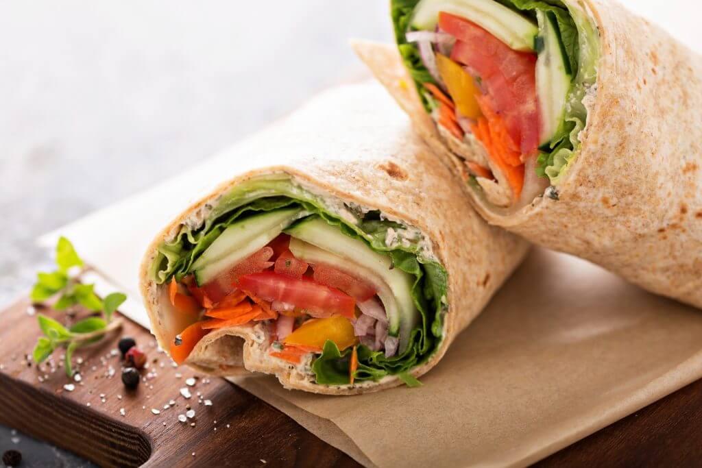 Vegetable wrap sliced in half