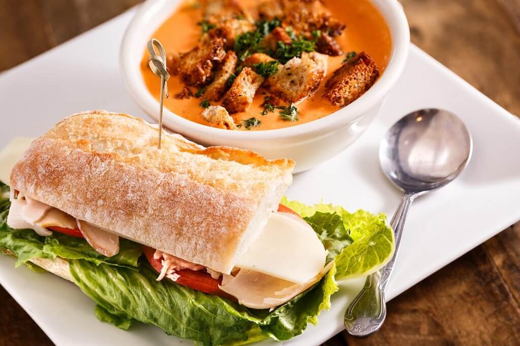 Sandwich served with soup