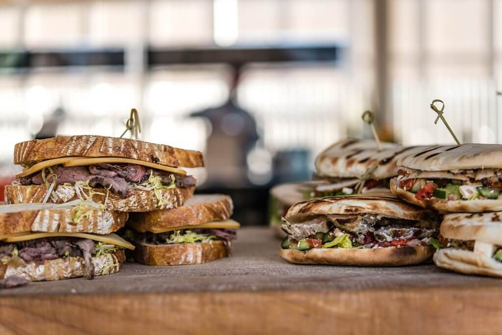 Stacks of sandwiches