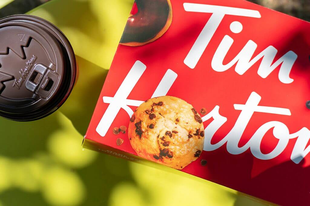 Tim Hortons donut box with coffee cup