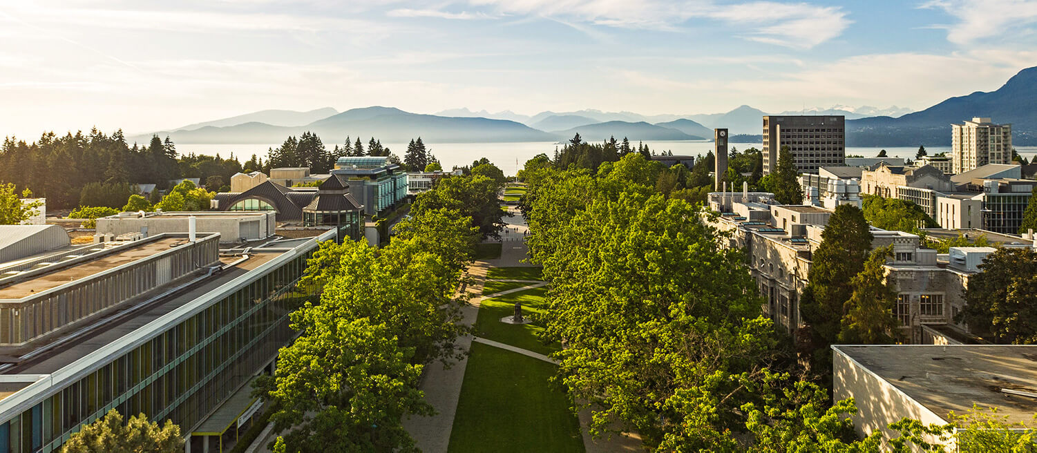 Aerial shot of UBC campus showing mountains in the background