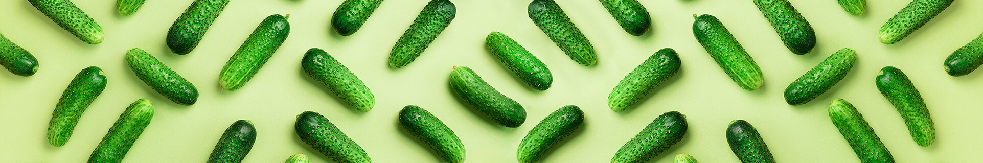 Pickles against a light green background
