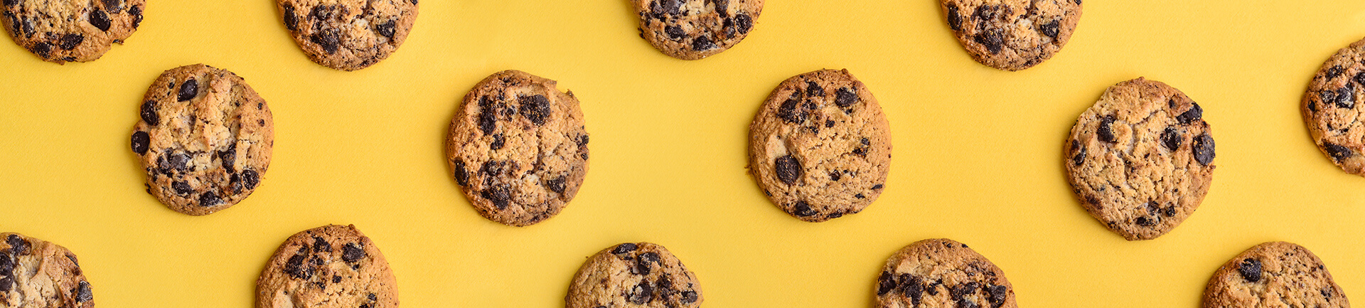 Chocolate chip cookies on yellow background
