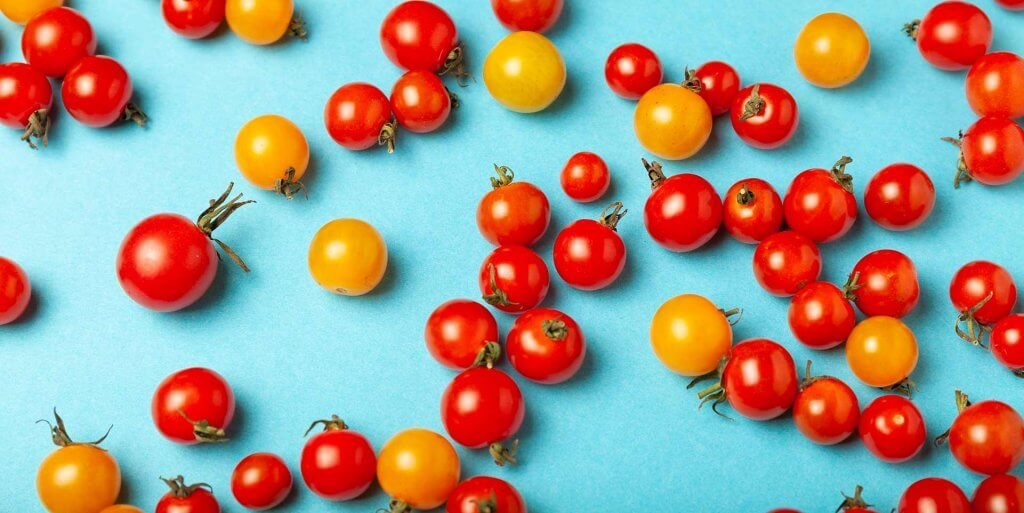 Cherry tomatoes against a blue background
