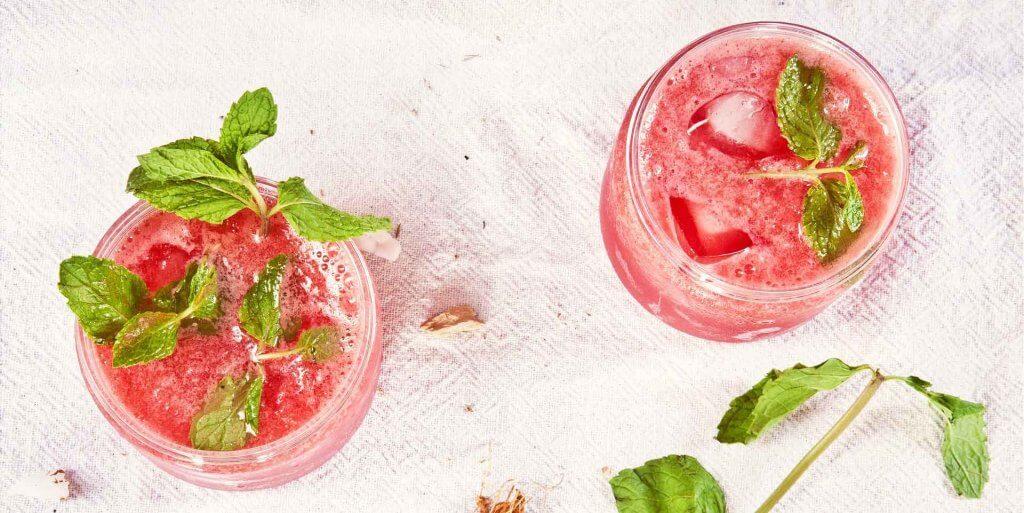 Two glasses of watermelon slush