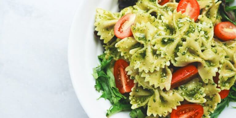 Pesto pasta with cherry tomatoes