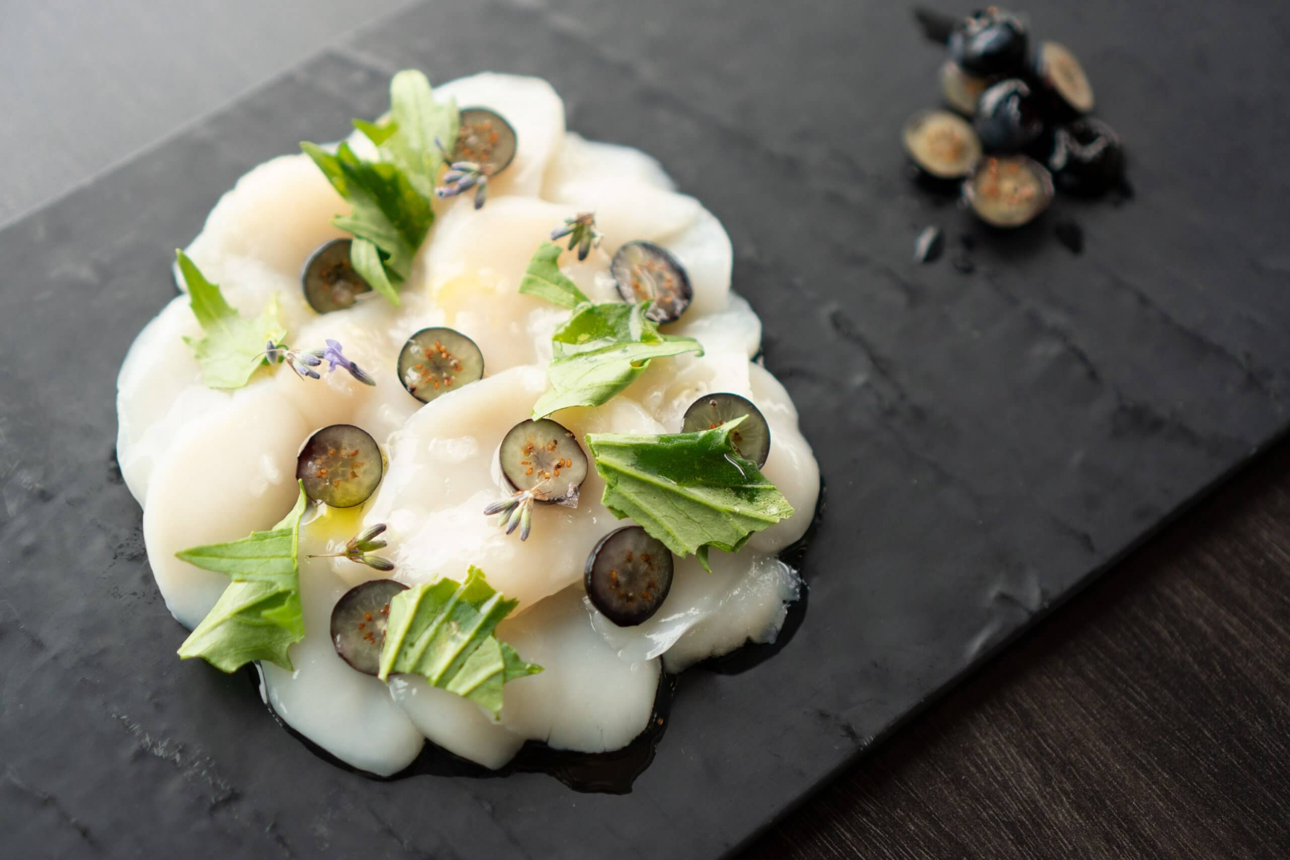 Scallop Crudo with Lavender Pickled Blueberries – FOOD AT UBC ...